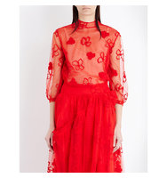 Simone Rocha Spooky Flower Embroidered Tulle Top Red