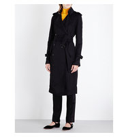 Victoria Beckham Double Breasted Twill Trench Coat Black