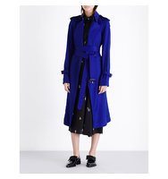 Victoria Beckham Double Breasted Twill Trench Coat Deep cobalt