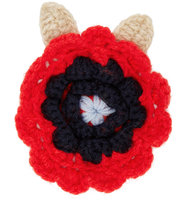 Christopher Kane Red Crocheted Flower Brooch
