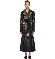 Erdem Blue Embroidered Macey Coat