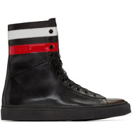 Raf Simons Black Leather Stripes High top Sneakers