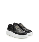 Alexander Mcqueen Embellished Slip On Leather Sneakers