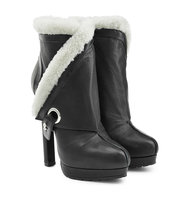Alexander Mcqueen Leather Ankle Boots With Sheepskin Trim