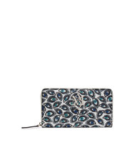 Alexander Mcqueen Printed Leather Continental Zip Around Wallet