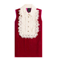 Anna Sui Velvet Sleeveless Top With Lace