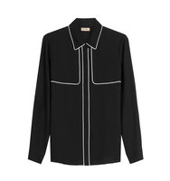 Burberry London Mulberry Silk Blouse With Contrast Piping