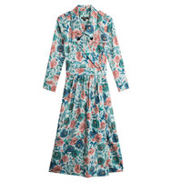 Burberry London Printed Cotton Dress With Mulberry Silk
