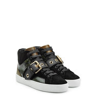 Burberry Shoes Accessories Leather High Top Sneakers With Suede And Snakeskin