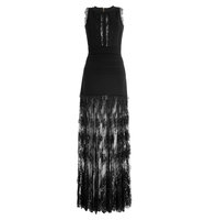 Elie Saab Floor Length Knit Dress With Lace