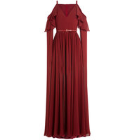 Elie Saab Floor Length Silk Gown With Cut Out Shoulders