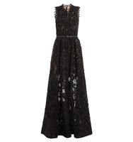 Elie Saab Sequin Embellished Floor Length Gown With Lace