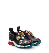 Fendi Leather Sneakers With Floral Applique
