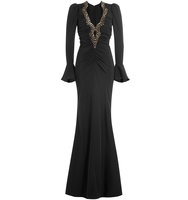 Roberto Cavalli Silk Evening Gown With Patterned Sequin Embellishment
