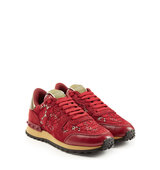Valentino Rockrunner Leather And Lace Sneakers