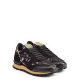 Valentino Rockstud Leather And Lace Sneakers