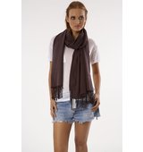Love Quotes Rayon Knotted Fringe Scarf in Truffle