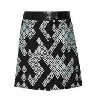 31 Phillip Lim 31 Phillip Lim Leather trimmed Ribbed Woven Skirt Black
