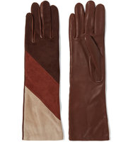 Agnelle Agnelle Celia Color block Leather And Nubuck Gloves Brown