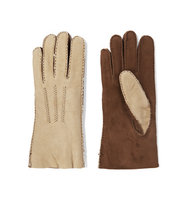 Agnelle Agnelle Two tone Shearling lined Nubuck Gloves Beige