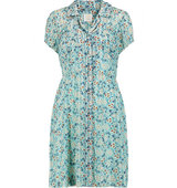 Anna Sui Anna Sui Daisy Printed Satin And Washed silk Mini Dress Sky blue