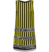 Anna Sui Anna Sui Lace trimmed Printed Silk crepe Mini Dress Yellow