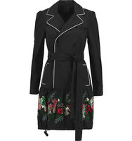 Anna Sui Anna Sui Rosa Floral appliqud Twill Trench Coat Black