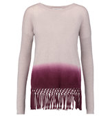 Autumn Cashmere Autumn Cashmere Fringed Dip dyed Cashmere Sweater Burgundy