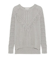 Autumn Cashmere Autumn Cashmere Fringed Open knit Cotton Sweater Gray