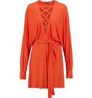 Balmain Balmain Lace up Crepe Dress Coral