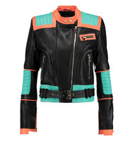 Balmain Balmain Paneled Leather Biker Jacket Black