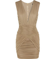 Balmain Balmain Ruched Stretch jersey Mini Dress Taupe