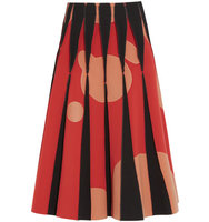 Bottega Veneta Bottega Veneta Appliqud Stretch crepe Midi Skirt Red