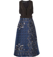 Burberry Burberry Cutout Printed Cotton blend Dress Storm blue