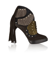 Burberry Burberry Lilybell Fringed Suede Ankle Boots Dark brown