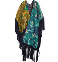 Burberry Burberry Suede fringed Printed Cotton And Silk blend Wrap Multi