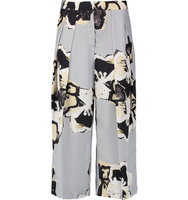 By Malene Birger By Malene Birger Malana Printed Silk Crepe De Chine Wide leg Pants Gray green