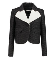 Carven Carven Crepe paneled Tweed Jacket Black