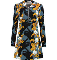 Carven Carven Printed Crepe Mini Dress Anthracite