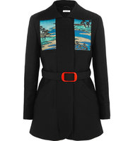 Carven Carven Printed Stretch cotton Crepe Coat Black