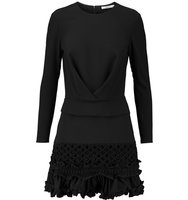 Carven Carven Ruffled Crepe Mini Dress Black