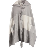 Chloe Chlo Checked Wool blend Cape Gray