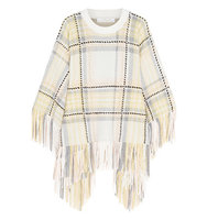 Chloe Chlo Fringed Wool And Cashmere blend Poncho Neutral