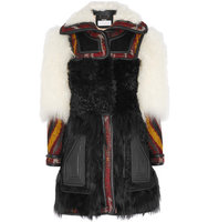 Chloe Chlo Leather trimmed Shearling And Wool blend Jacquard Coat Multi