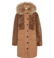 Chloe Chlo Snow Capsule Oversized Shearling And Quilted Shell Parka Camel