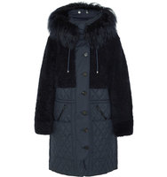 Chloe Chlo Snow Capsule Oversized Shearling And Quilted Shell Parka Navy