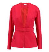 DELPOZO DELPOZO Belted Cotton Peplum Jacket Red