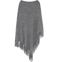 DKNY DKNY Sequined Fringed Woven Cape Gray