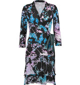 Diane von Furstenberg Diane von Furstenberg Cathy Printed Wrap effect Jersey And Silk chiffon Dress Multi