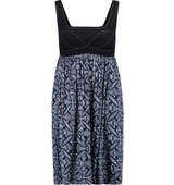 Diane von Furstenberg Diane von Furstenberg Emelina Denim paneled Printed Stretch jersey Mini Dress Navy